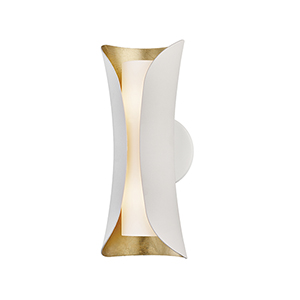 Josie Gold Leaf and White Two-Light Wall Sconce
