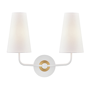 Merri Aged Brass and White Two-Light Wall Sconce