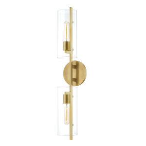 Ariel Aged Brass Two-Light Wall Sconce