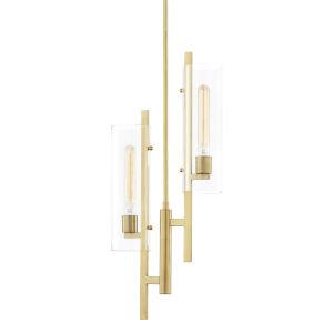 Ariel Aged Brass Two-Light Pendant