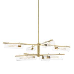 Ariel Aged Brass Eight-Light Chandelier