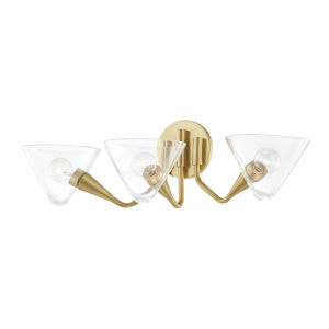 Isabella Aged Brass Three-Light Wall Sconce