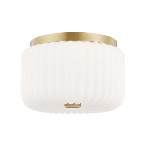 Lydia Aged Brass Two-Light Flush Mount