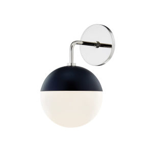 Renee Polished Nickel and Black One-Light Wall Sconce