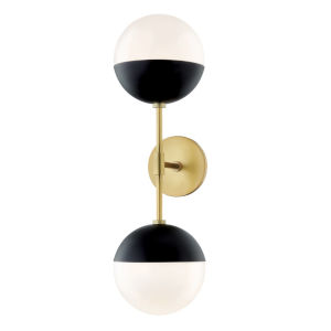 Renee Aged Brass and Black Seven-Inch Two-Light Wall Sconce