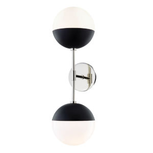 Renee Polished Nickel and Black Seven-Inch Two-Light Wall Sconce