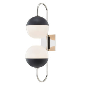 Renee Polished Nickel and Black Two-Light Wall Sconce