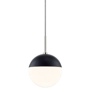 Renee Polished Nickel and Black One-Light Pendant