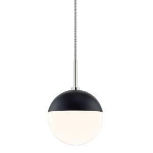 Renee Polished Nickel and Black One-Light Pendant
