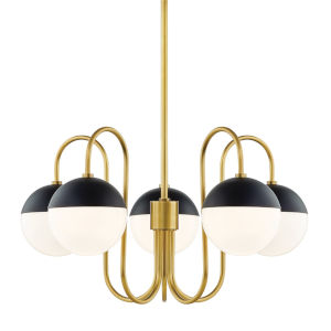 Renee Aged Brass and Black Five-Light Chandelier