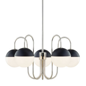 Renee Polished Nickel and Black Five-Light Chandelier