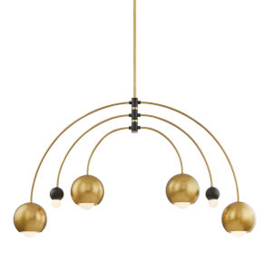 Willow Aged Brass and Black Six-Light Chandelier