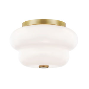 Hazel Aged Brass Two-Light Flush Mount