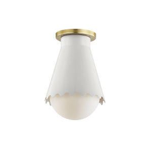 Lauryn Aged Brass and White One-Light Flush Mount