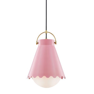 Lauryn Aged Brass and Blush One-Light Pendant