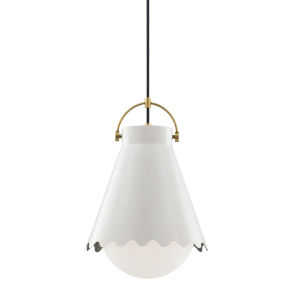 Lauryn Aged Brass and White One-Light Pendant