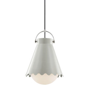 Lauryn Polished Nickel and Gray One-Light Pendant