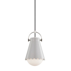 Lauryn Polished Nickel and Gray One-Light Mini Pendant