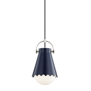 Lauryn Polished Nickel and Navy One-Light Mini Pendant
