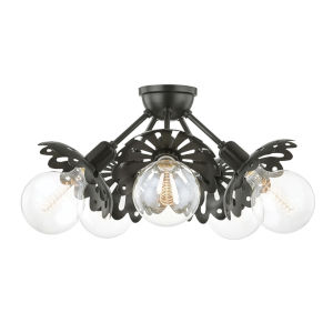 Alyssa Old Bronze Five-Light Semi-Flush Mount