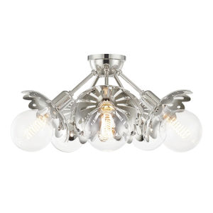 Alyssa Polished Nickel Five-Light Semi-Flush Mount