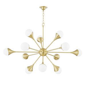 Ariana Aged Brass 12-Light Chandelier with Opal Glass