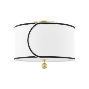 Zara Aged Brass Two-Light Semi-Flush with Belgian Linen Shade