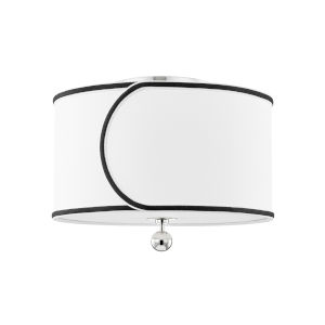 Zara Polished Nickel Two-Light Semi-Flush with Belgian Linen Shade