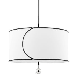 Zara Polished Nickel Three-Light Drum Pendant with Belgian Linen Shade