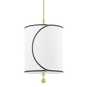 Zara Aged Brass One-Light Pendant with Belgian Linen Shade