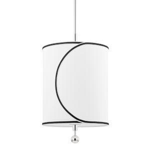 Zara Polished Nickel One-Light Pendant with Belgian Linen Shade