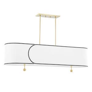 Zara Aged Brass Five-Light Island Chandelier with Belgian Linen Shade
