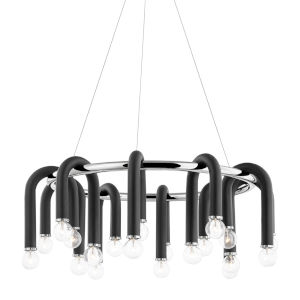Whit Polished Nickel 20-Light Chandelier
