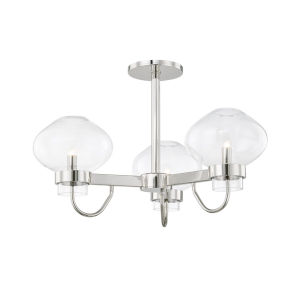 Korey Polished Nickel Three-Light Semi-Flush Mount