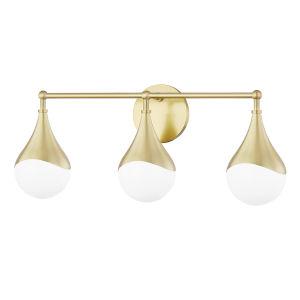 Ariana Aged Brass Three-Light LED Bath Vanity with Opal Glossy Glass