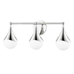 Ariana Polished Nickel Three-Light LED Bath Vanity with Opal Glossy Glass