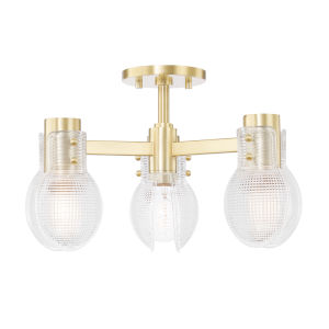 Jenna Aged Brass Three-Light Semi-Flush