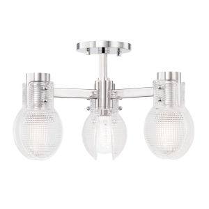 Jenna Polished Nickel Three-Light Semi-Flush