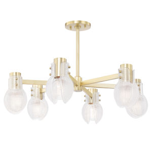 Jenna Aged Brass Six-Light Chandelier
