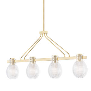 Jenna Aged Brass Four-Light Island Pendant