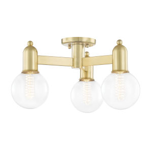Bryce Aged Brass Three-Light Semi-Flush