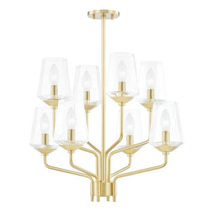 Kayla Aged Brass Eight-Light Chandelier
