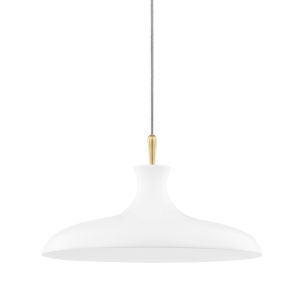 Cassidy Aged Brass and Soft Off White 21-Inch One-Light Pendant