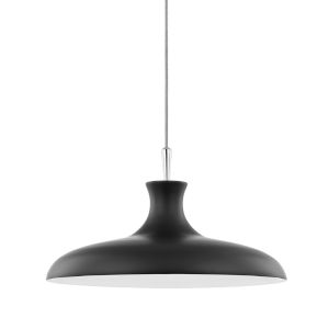 Cassidy Polished Nickel and Black 21-Inch One-Light Pendant