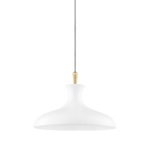 Cassidy Aged Brass and Soft Off White 15-Inch One-Light Pendant