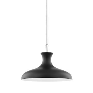 Cassidy Polished Nickel and Black 15-Inch One-Light Pendant