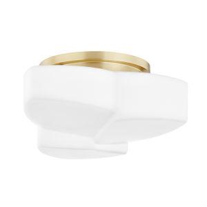 Amora Aged Brass One-Light Semi-Flush with Opal Matte Glass