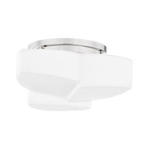 Amora Polished Nickel One-Light Semi-Flush with Opal Matte Glass