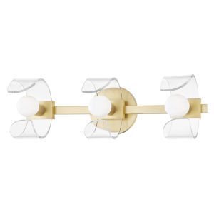 Ora Aged Brass Three-Light Wall Sconce