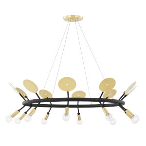 Fern Aged Brass and Black 10-Light Chandelier